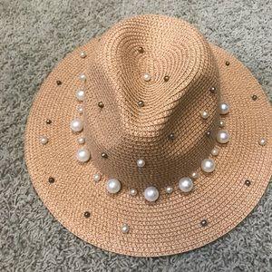 Khaki straw fedora with pearls detail